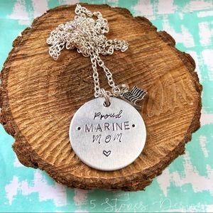 🆕 Proud Marine Mom Handstamped Necklace